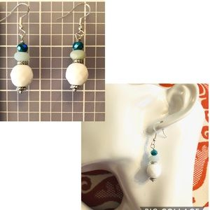 Frontrow.style Jewelry - Sterling Silver Earrings Milk Glass & Amazonite